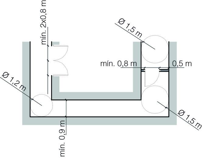 Pasillos y puertas observatori espais esc nics - Puerta para discapacitados medidas ...